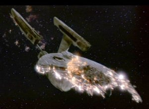 The Enterprise blows up.